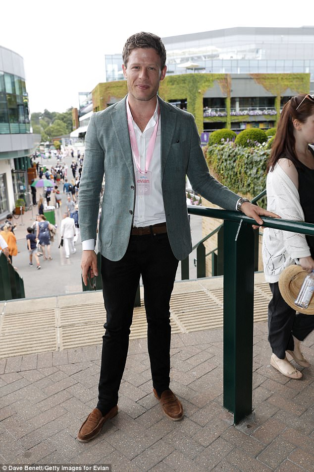 Smile: English actor James Norton made sure to stop for a photo as he made his way around Wimbledon clad in dark jeans, a white shirt and grey blazer