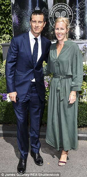 Happy couple:Bear Grylls was also in attendance with his wife Shara, who dazzled in a flattering bottle green maxi dress that cinched in at the waist