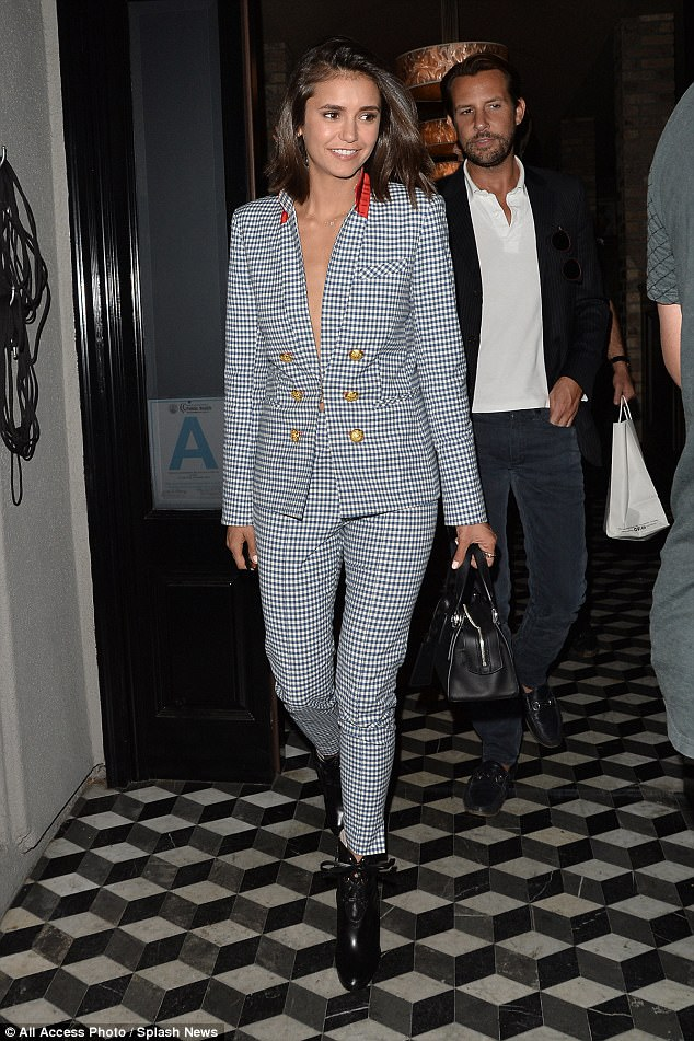 Chic:Nina Dobrev, 28, looked truly radiant as she stepped out for dinner at West Hollywood hotspot Craigs on Thursday with Gossip Girl actress Jessica Szohr, 32