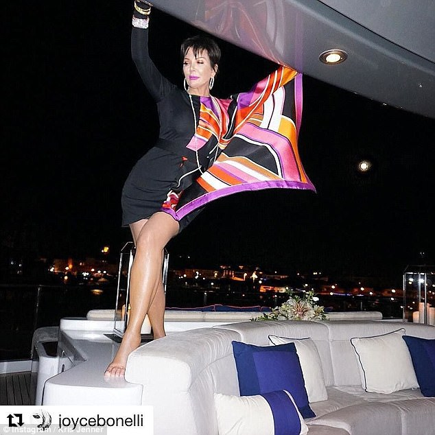 The high life:Kris was spotted on Instagram, standing on the back of her yacht in a night out dress