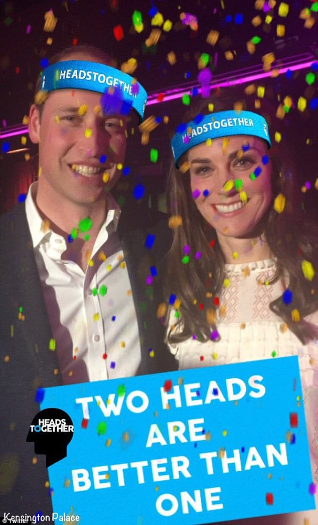 Following the broadcast, Kensington Palace tweeted a photo of the royal couple wearing the new Heads Together Campaign digital headbands, with the caption: 'Two heads are better than one'