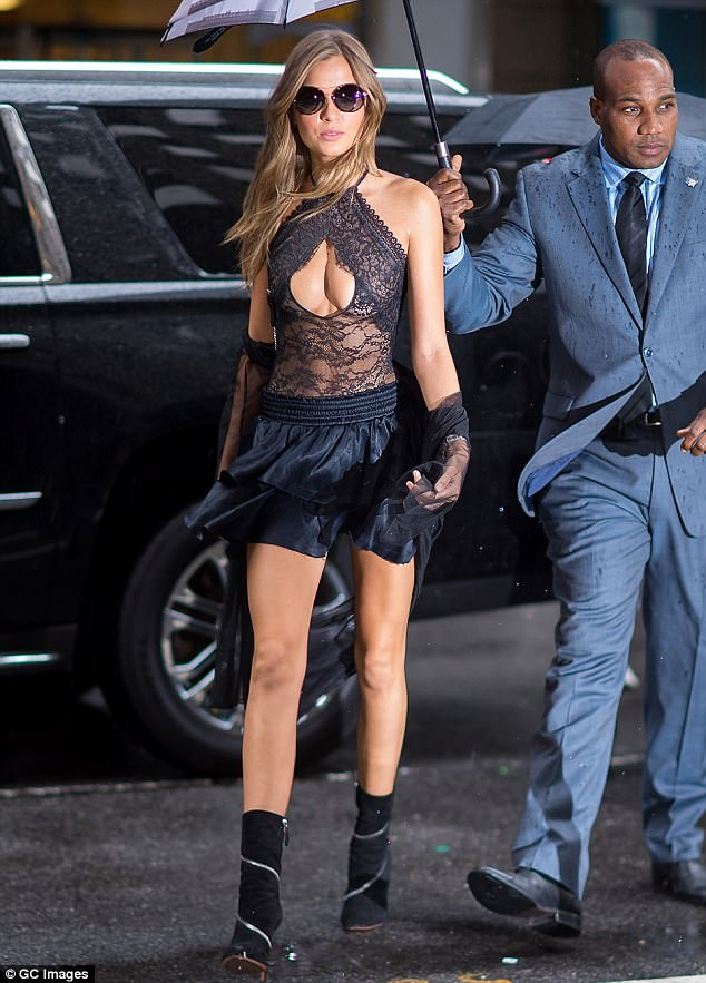 Beauty in black: Josephine Skriver looked stunning as she headed to a Victoria's Secret fitting in New York on Tuesday