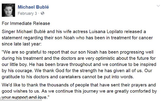 'Our son Noah has been progressing well': On February 3, Michael and Luisana issued a joint statement on social media