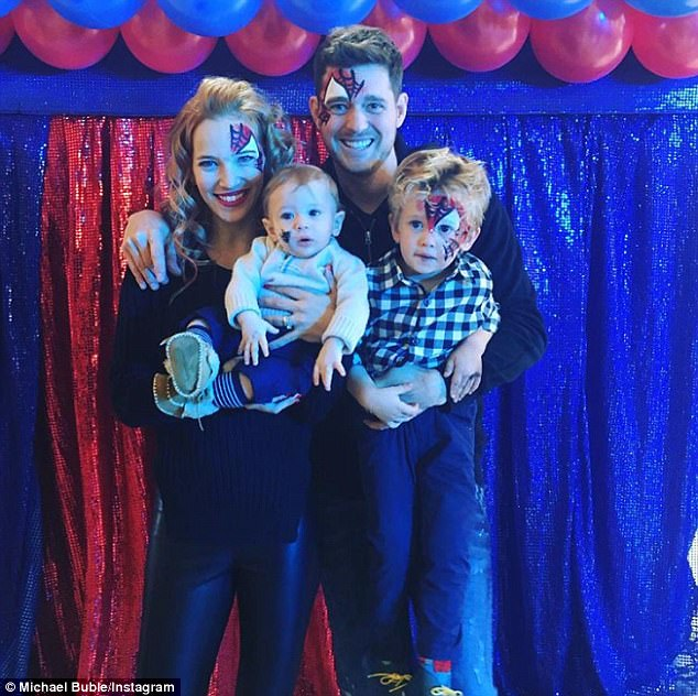 Happy family:Michael Buble's brave son Noah was treated to a fourth birthday party to remember as he celebrated his special day on Monday (pictured last year)