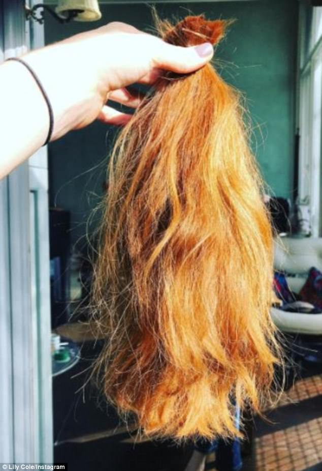 Charitable: Lily said goodbye to her previously long tresses as she chopped off her locks to provide hair wigs forchildren with cancer and documented the chop on Instagram
