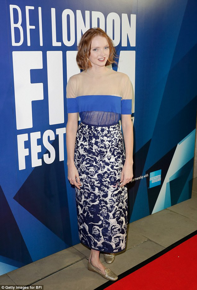 Glam: Lily Cole, 29, looked sensational as she made her first red carpet since having her auburn locks cut into a chic bob at BFI's 61st London Film Festival on Saturday