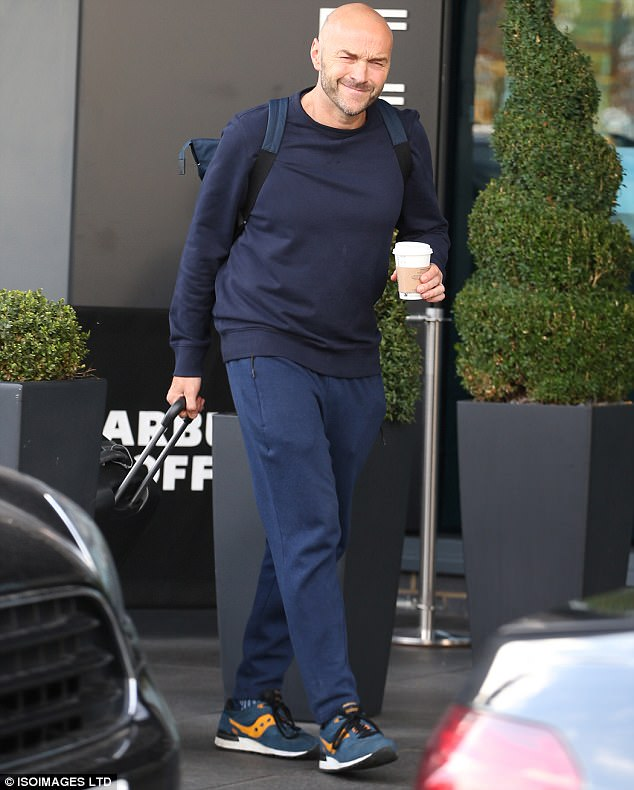 Bring it on! Sunday Brunch Host's Simon Rimmer wrapped up snug in a form-fitting navy jumper for the Saturday night show
