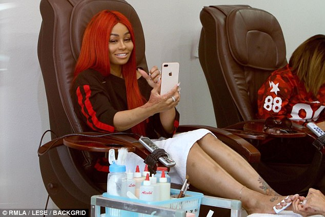 Enjoying herself:The now ex of Rob Kardashian looked quite happy, and smiled both during and after her appointment