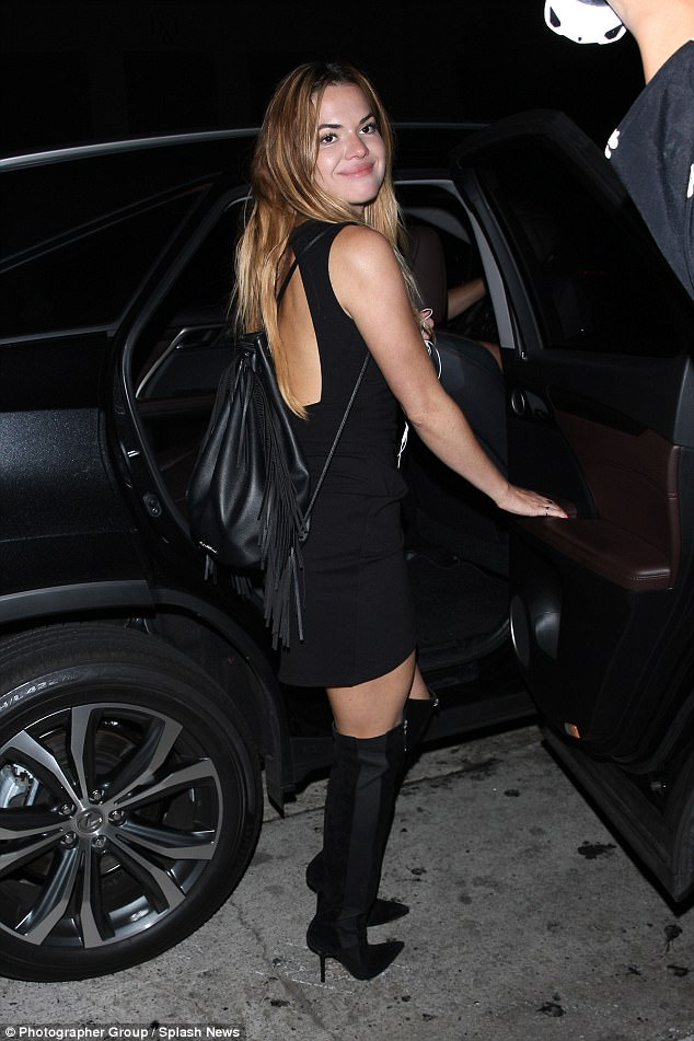 Careful: The heels might have been a little too high for her, as she teetered out of the celeb hotspot and into a waiting car