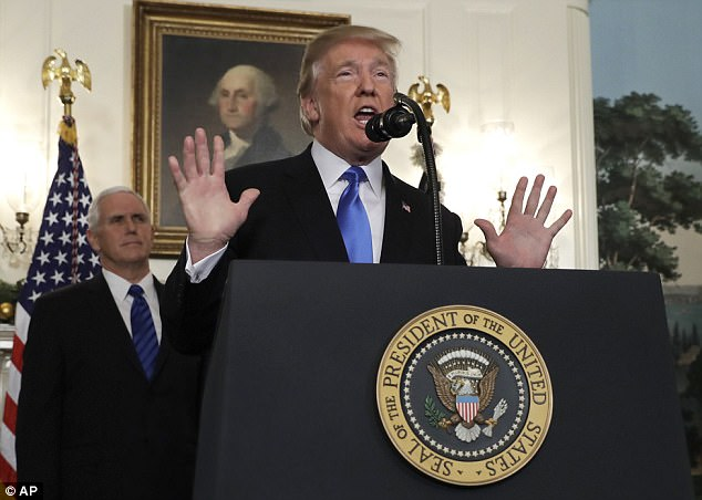 Trump, announcing changes in the U.S. policy toward Israel, ended his speech on Wednesday by saying:'God bless the United Shhtates'