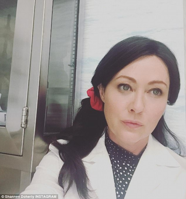 Back in action: In August the starlet shared an image of her looking pretty and healthy while donning a long brunette wig, captioning the picture: 'I'm grateful for today. Grateful for everyday,' while thanking the cast and crew of her new project Heathers