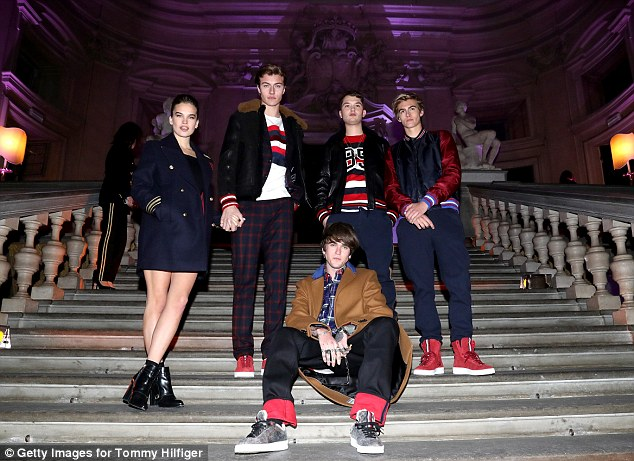 The squad: He modelled alongside the likes of (l-r) Stormi Brie, Lucky Blue Smith, Rafferty Law, Gabriel Kane Lewis and Presley Gerber