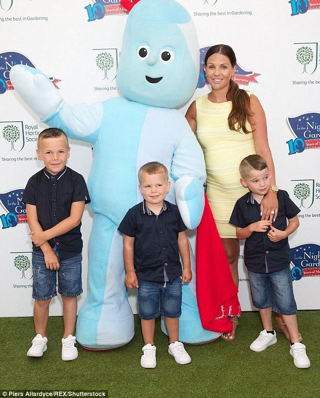 Happy family:The new arrival will be Danielle's fourth child, but her first with electrician Michael - after welcoming Archie, six, Harry, five and George, three (above) with ex-husband Jamie O'Hara