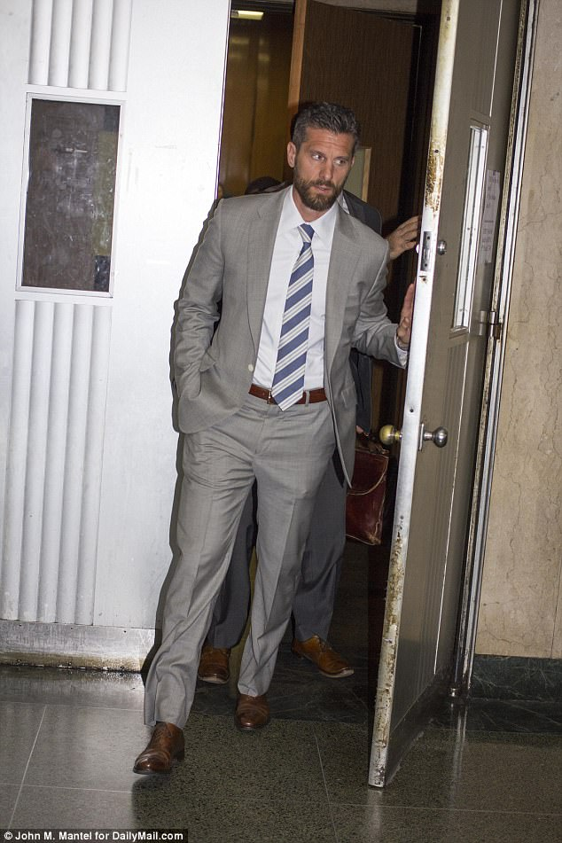 Pushing back: Hoppy did not speak to the members of the media as he made his way out of the courtroom on Tuesday