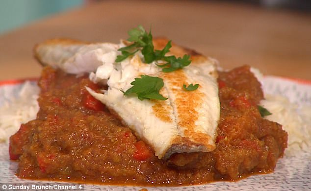 More research:While she eventually created her delicious dish  (above), Sam asked Simon Rimmer whether her fish was fully cooked - and failed to identify some of her ingredients