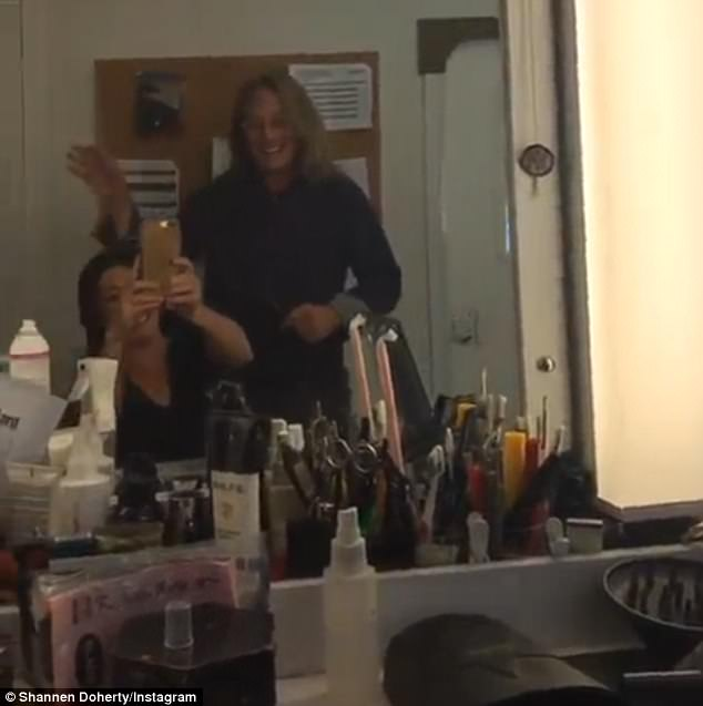 Hard at work: The Beverly Hills, 90210 alumthen ironically wigged out the very next day in her trailer on the set of Paramount Network's Heathers reboot