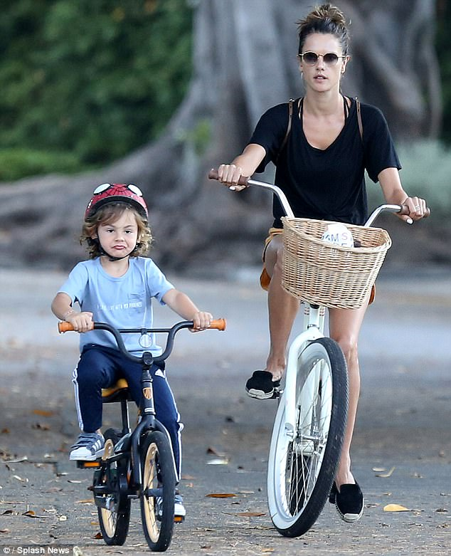 Mommy's boy: Alessandra is seen with Noah in Brentwood, CA on Monday