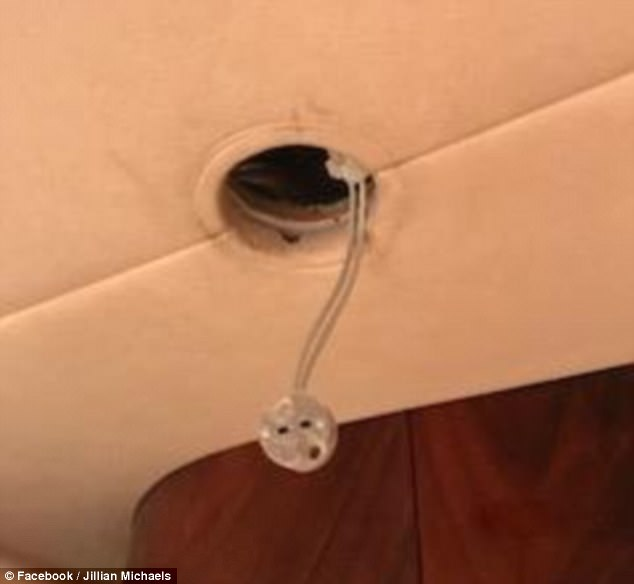The Biggest Loser star said the craft had no hot water or wi-fi and had electrical problems. Pictured: What appears to be an exposed electrical outlet