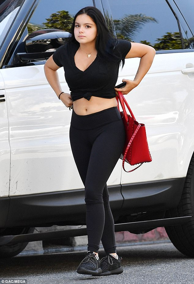 Abs-olutely fabulous: Ariel Winter showed off her toned abs as she exchanged set life for sweat life while heading to her gym in Los Angeles on Tuesday