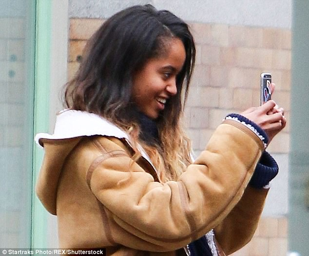 Malia (sen in March with her iPhone) tried to get help from the Apple Store in tracking down her lost cellphone, but wasn't able to get help becase she didn't know her Apple ID, which was set up by the White House