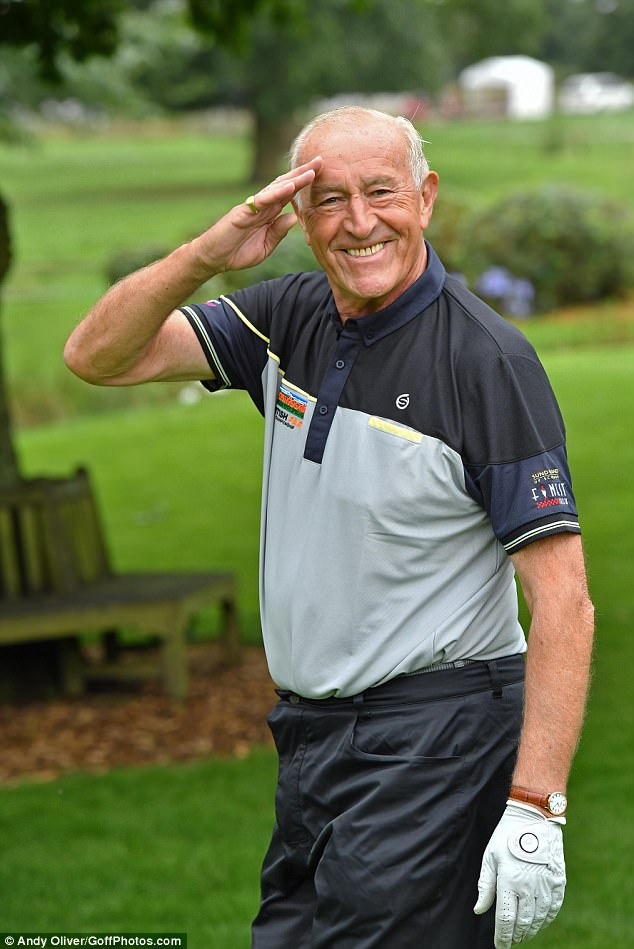Laid back:Len Goodman proved a more relaxed approach to life is treating him nicely as he led the stars at the British Par 3 Golf Championship at Nailcote Hall Golf Course in Berkswell, Warwickshire on Tuesday
