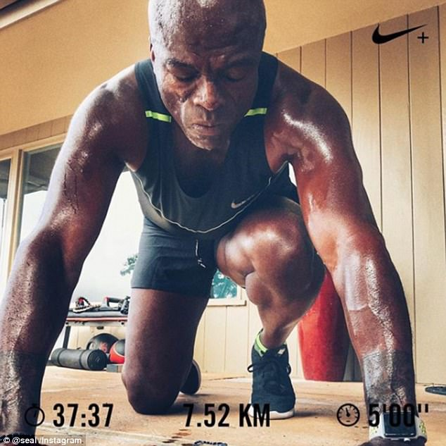 Gym buff: Seal showed off his workout routine in an Instagram snap captioned, 'Another week, another great opportunity to overcome'