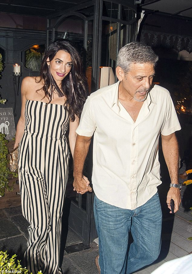 That's amore! Amal and George Clooney took a night off their parenting duties on Tuesday, to instead enjoy dinner in Lake Como, Italy
