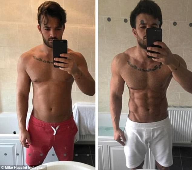 Quite a difference: Mike has documented his gruelling gym regime on social media over recent months