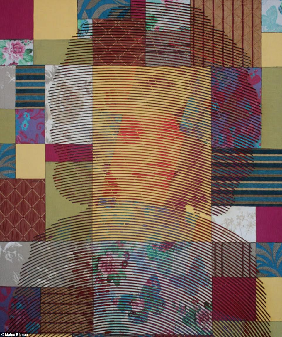 How he puts the rags to use! This portrait of country superstar Dolly Parton is Mateo's favorite. It's made out of pieces of cloth and string and was inspired by her song Coat of Many Colors