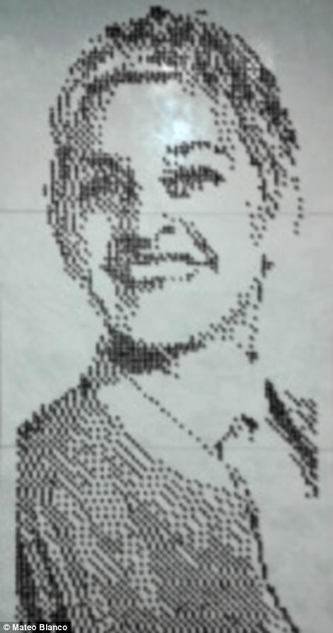 This portrait of comedian Ellen DeGeneres made from coffee beans shows Mateo's belief that anything can be turned into art