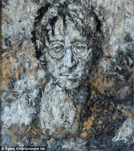 Mateo got the inspiration for this portrait of John Lennon made from dog hair while listening to the song Imagine. Many people were upset at his use of dog hair to create the piece