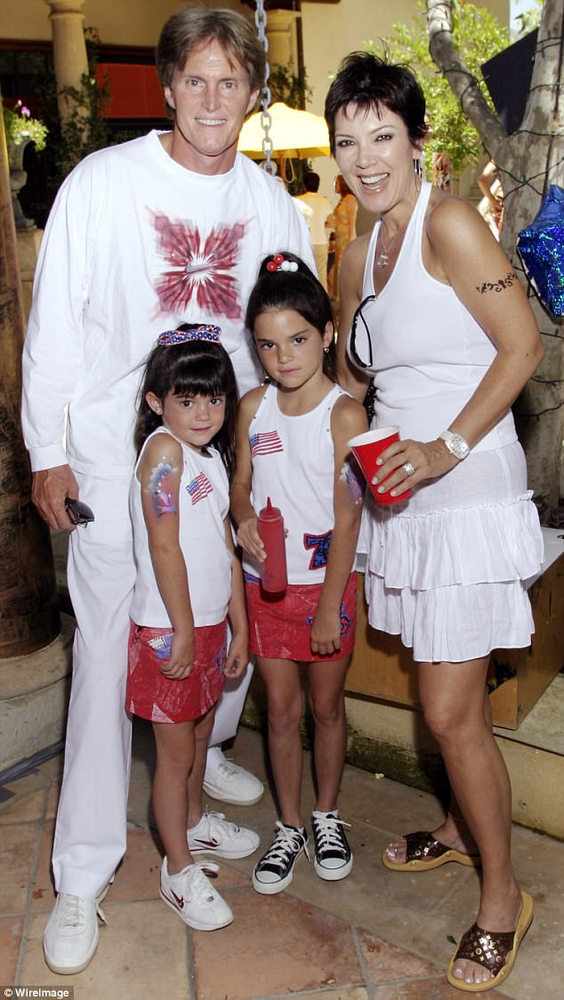 Words: Kris (pictured with Caitlyn and their daughters Kylie and Kendall as children) referred to her second spouse by her given name of Bruce during the interview