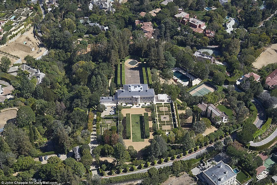 The Bel Air home of late media tycoon Jerry Perenchio has hit the market for $350million, making it the most expensive property on sale in the US