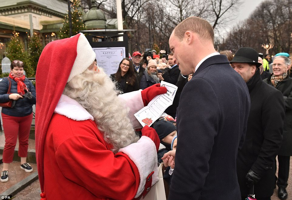 William presented the wish list during a visit to Esplanade Park's Christmas market in Helsinki