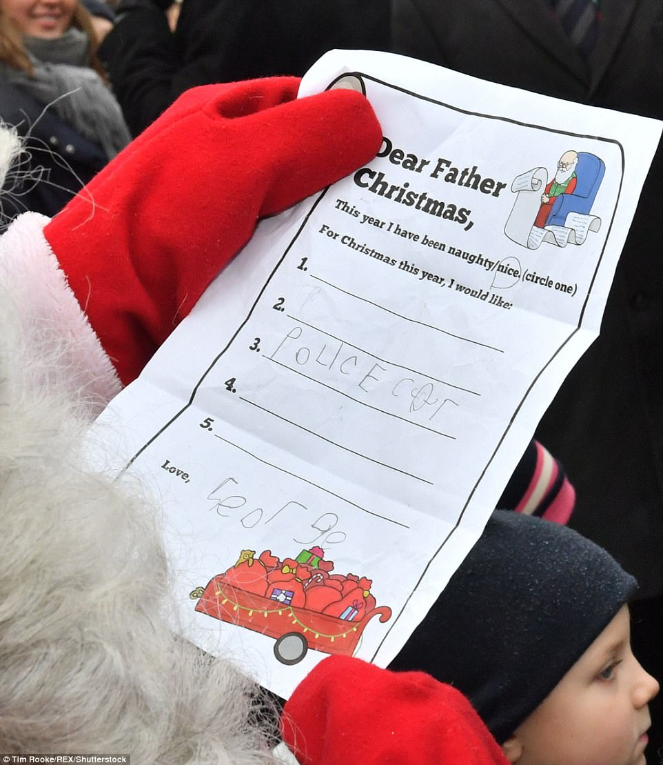 The only thing that the prince is hoping to find in his stocking is a police car according to his letter to the man in red