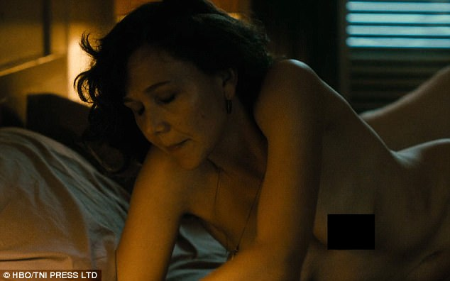 Racy: Maggie Gyllenhaal put on yet another racy display on TV show The Deuce, in which she stars as single mum prostitute Eileen Merrell
