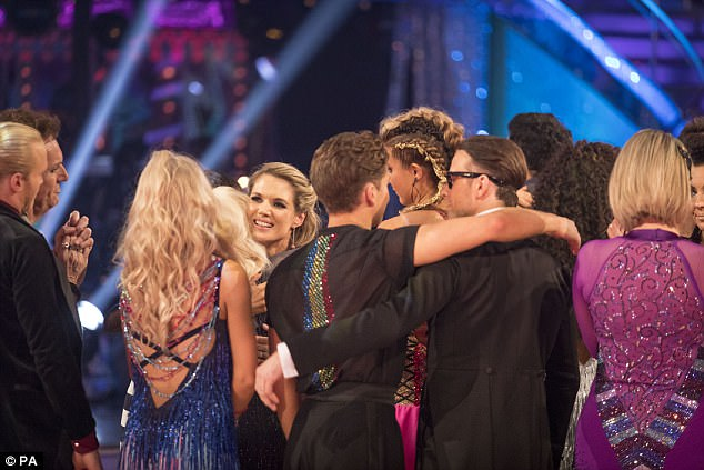 Exit: The rest of the Strictly cast said goodbye to Charlotte after her final dance. The remaining couples will return to dance again on Saturday