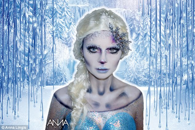 Let it go! This model was transformed into an Elsa that looked more creepy than the one seen in Disney's Frozen