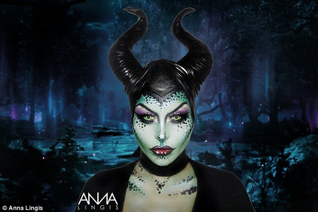 Villainous! Another Disney themed look saw a model transformed into Maleficent
