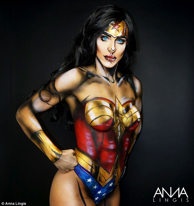 Wonder Woman! Anna used all over body paint to transform her model into the comic book hero