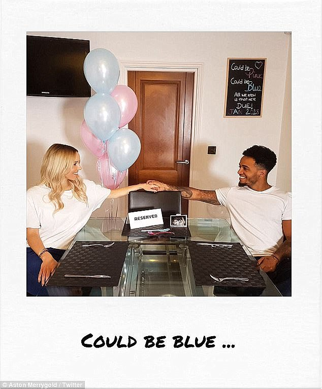 To announce his news, Aston shared a series of sweet photographs that saw himself and Sarah sitting at the table with a third seat positioned behind a 'reserved' sign and a photograph of their unborn child's baby scan
