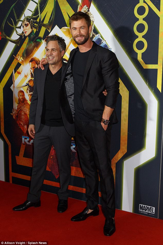 Famous faces: The former Home And Away star appeared in high spirits, mingling with his co-stars including Mark Ruffalo, 49