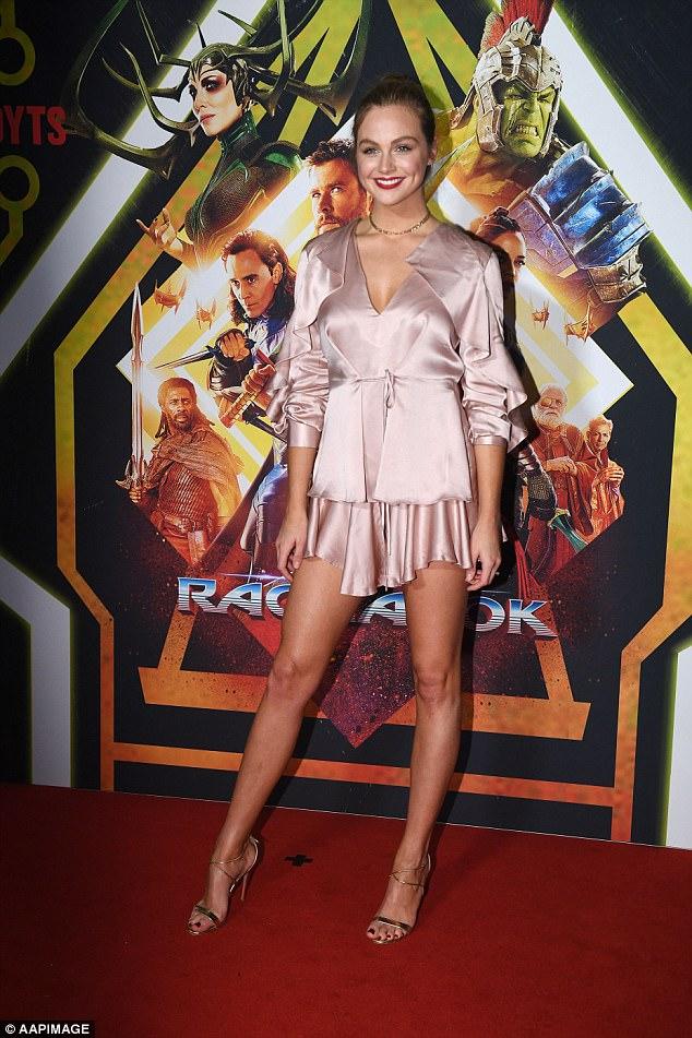 Pretty in pink: E! Australia host Ksenija Lukich, 27, flaunted her long and lean legs in a flirty number