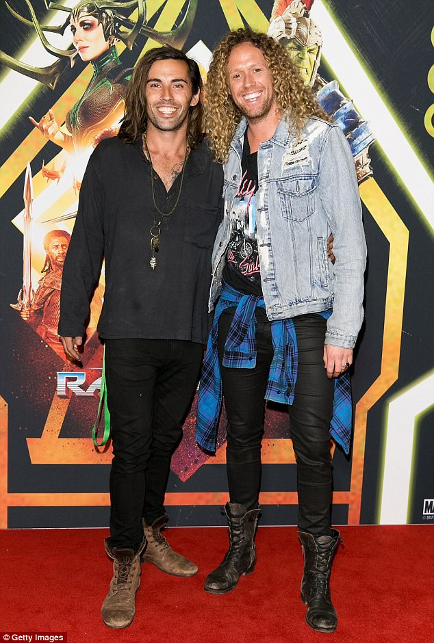 Trademark style: Ash Toweel (left) and Big Brother's Tim Dormer (right) cut cool and casual figures on the red carpet