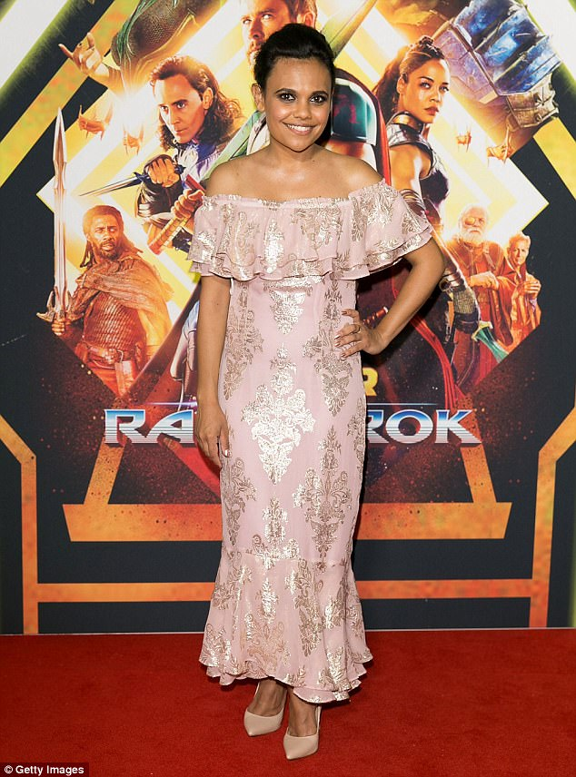 Pastel perfection: Love Child star Miranda Tapsell, 30, looked beautiful in a strapless pink frock with gold detailing