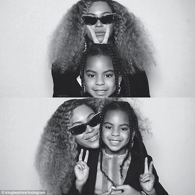 Muse:Beyonce took time out to pose with her mini me daughter Blue Ivy on Saturday. The singer, 36, shared two photos to her website beyonce.com