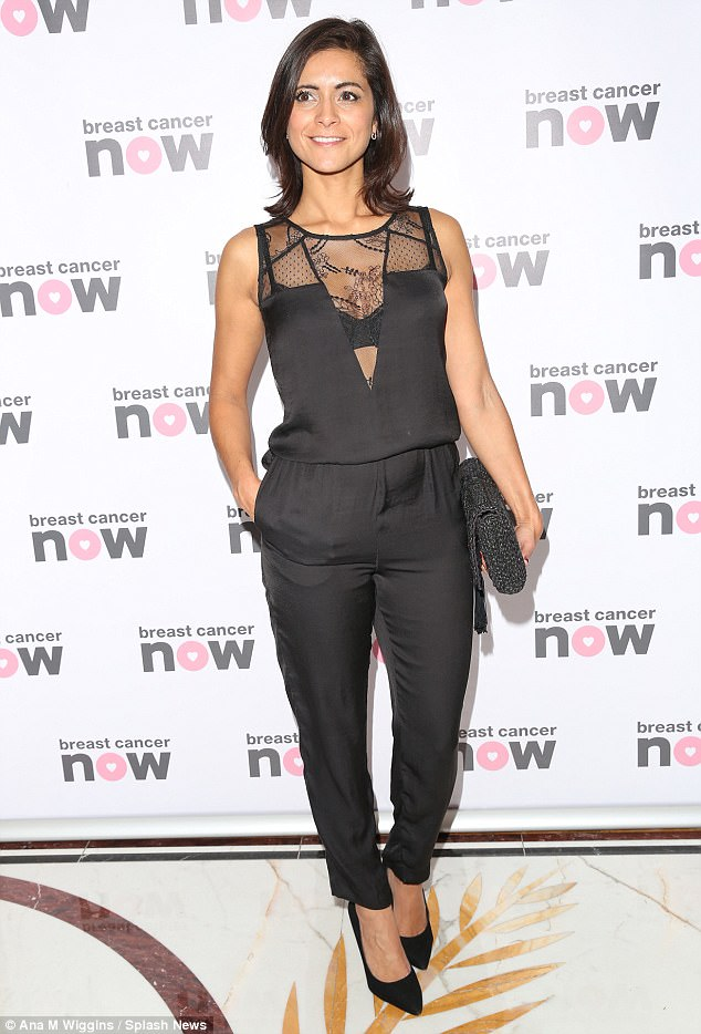 All-black: ITV's Lucy Verasamy, 37, looked outstanding in a black all-in-one with lace detailing at the Breast Cancer Now Pink Ribbon Ball event on Saturday