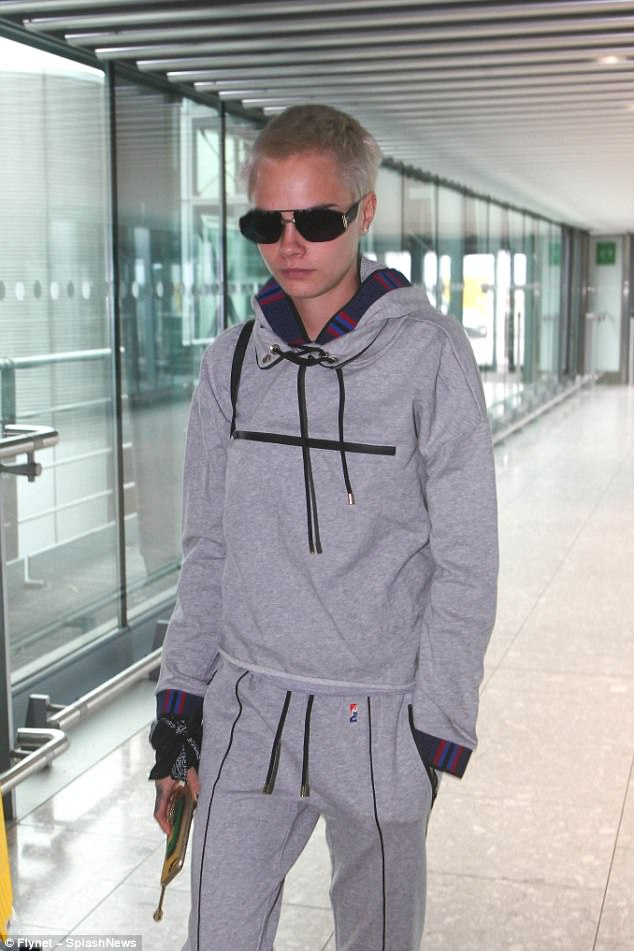 Fashionista: The 24-year-old model-cum-actress showcased her fashion prowess as she sauntered threw the terminal in the casual ensemble ahead of a flight to Los Angeles