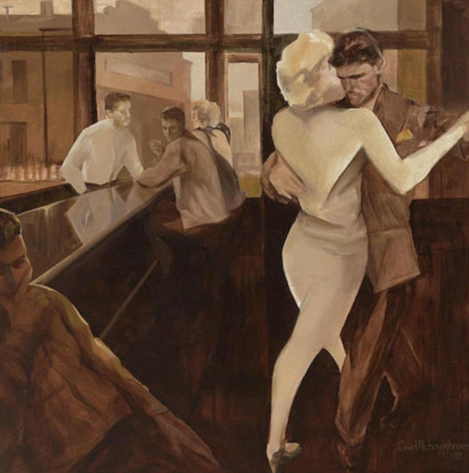A stroke of genius: This evocative painting called 'Bar Dance' by Richey Johnson was nabbed by one Jackie Collins fan for £2,410