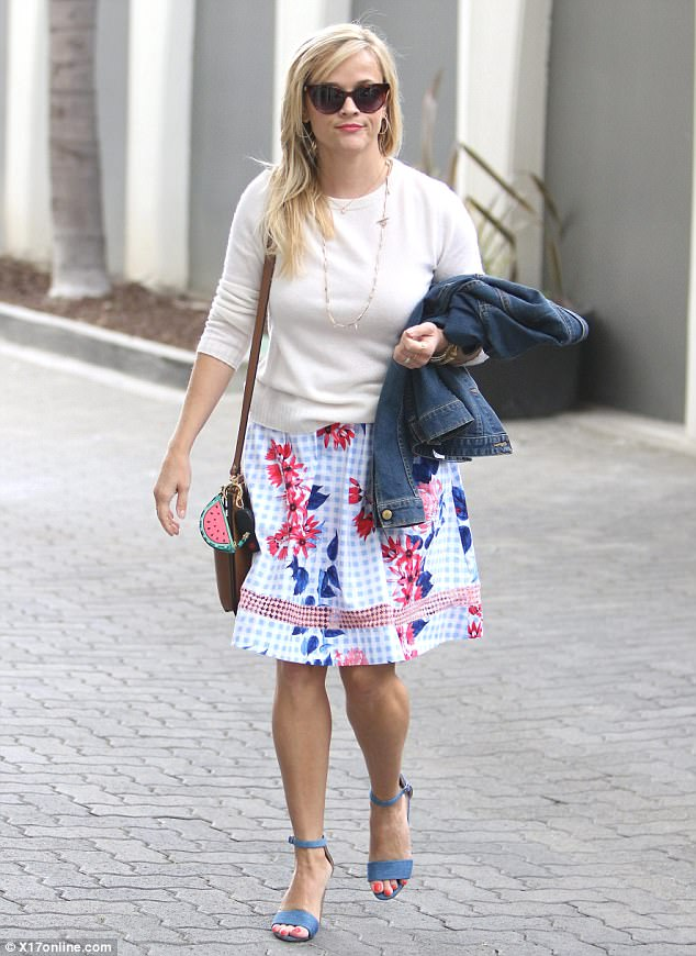 Clocking out:Reese Witherspoon, 41, was seen leaving her office in Brentwood on Wednesday